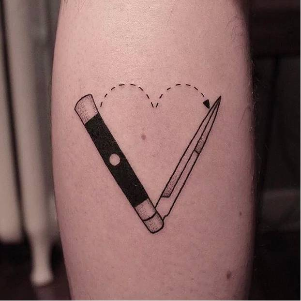 hand poked knife tattoo. Black Bedroom Furniture Sets. Home Design Ideas
