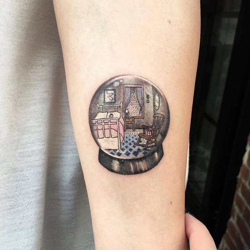 snow globe tattoo on the left inner forearm. Black Bedroom Furniture Sets. Home Design Ideas