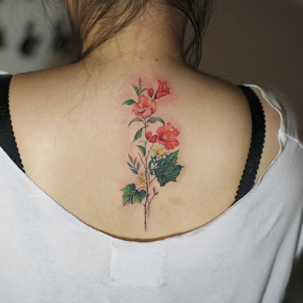 Flower Bouquet Tattoo On The Upper Back