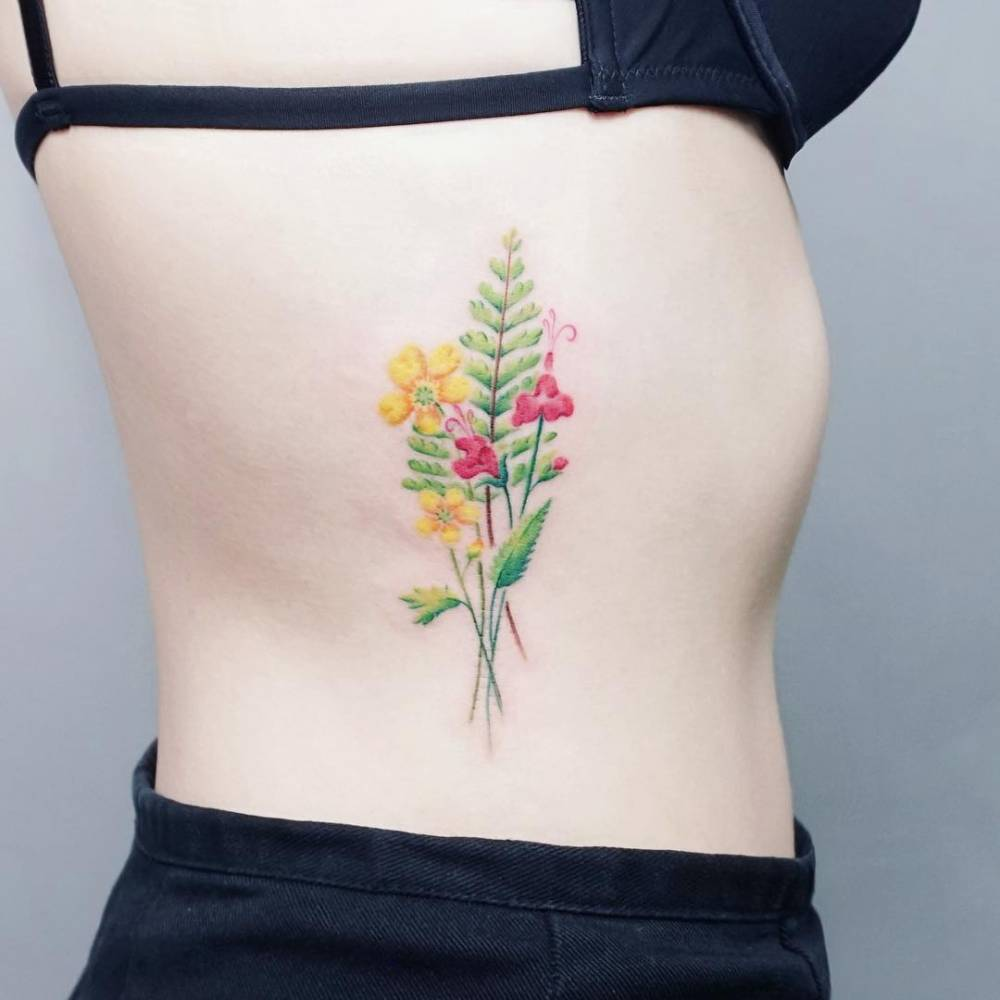 Flower Bouquet Tattoo On The Right Side Ribcage