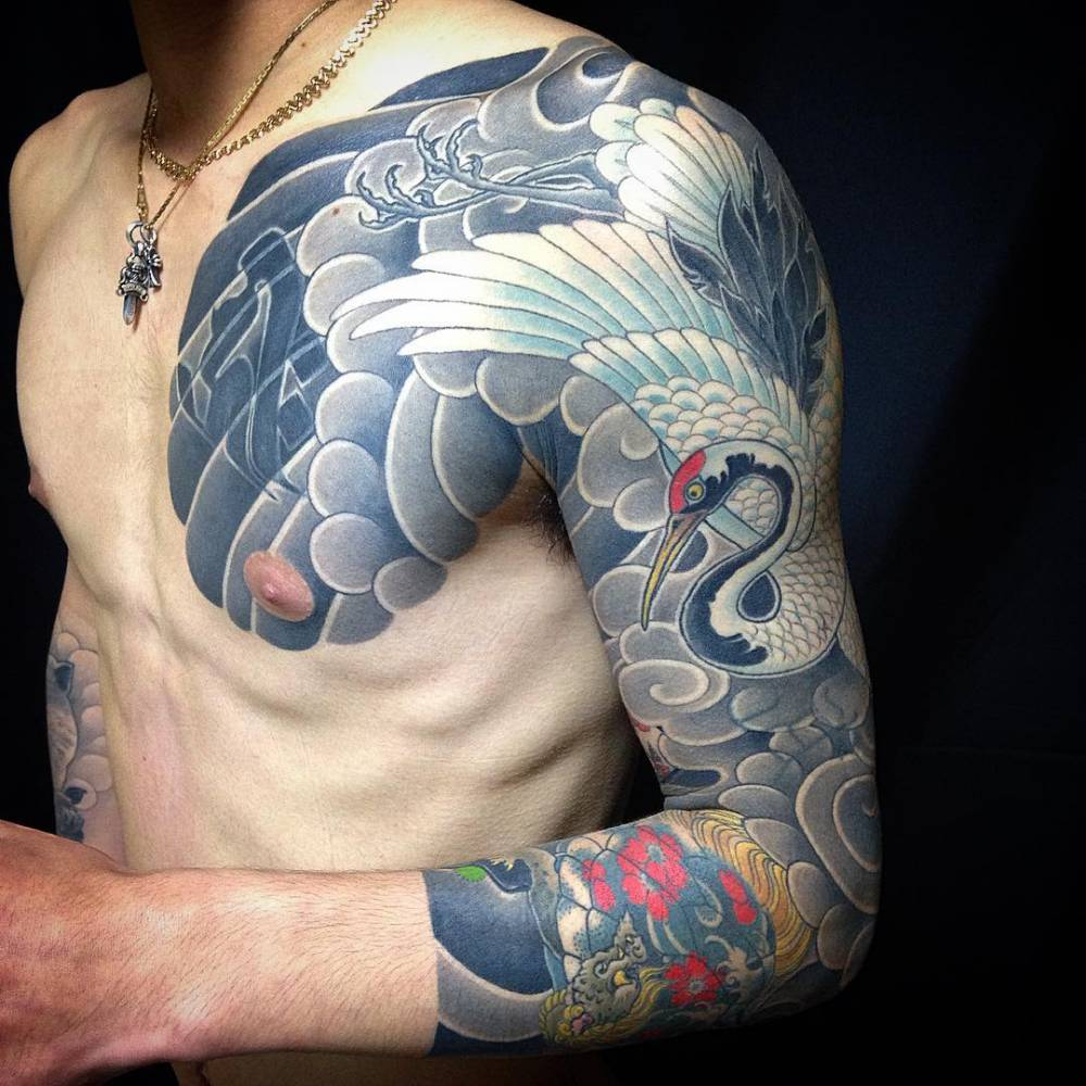 Japanese style red crowned crane sleeve and chest for Japanese style chest tattoos