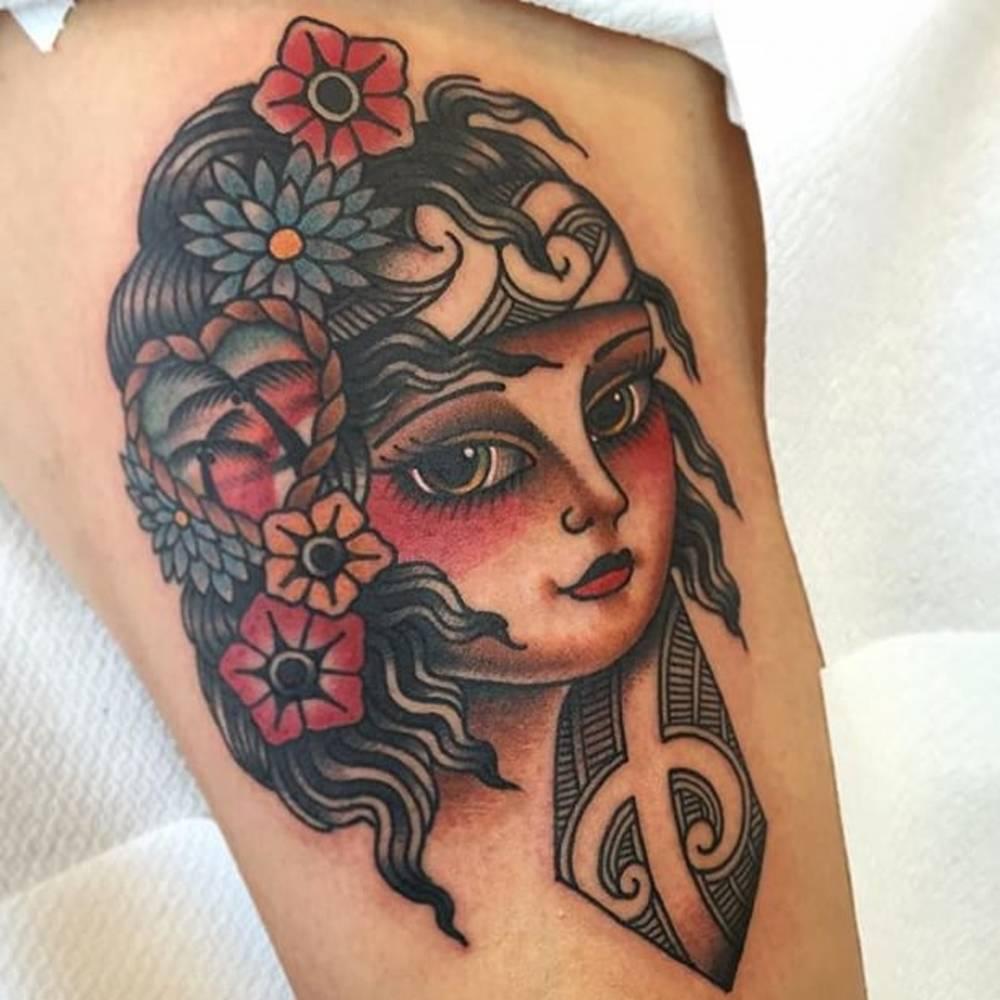 Authentic Maori Tattoo: Traditional Style Maori Girl Tattoo