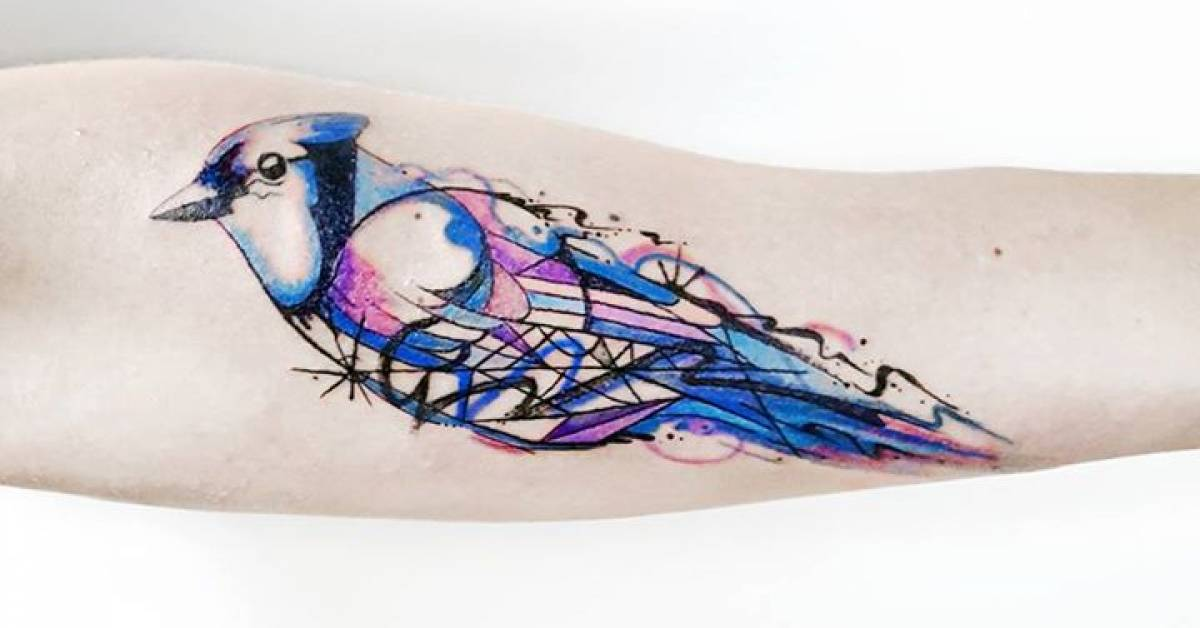 blue jay tattoo on the inner forearm. Black Bedroom Furniture Sets. Home Design Ideas
