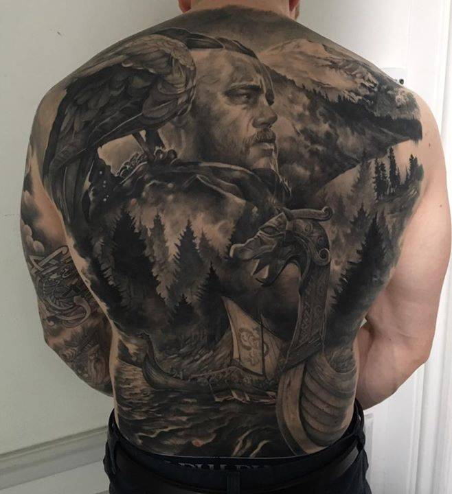 Vikings Tv Series Inspired Healed Backpiece Tattoo On