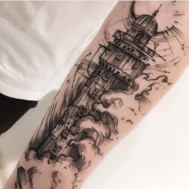 Sketch work lighthouse tattoo on the inner forearm for Forearm tattoo sketches