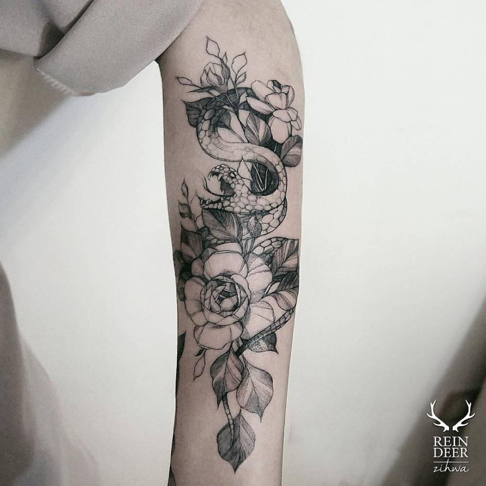 Snake Flower Tattoo: Snake And Rose Tattoo On The Left Forearm