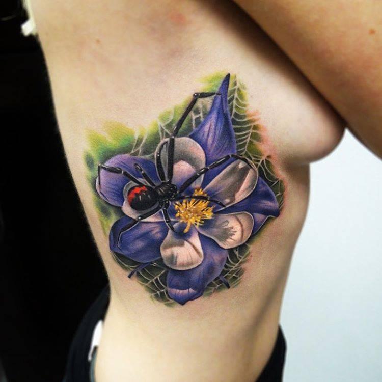 black widow on columbine flower tattoo on the right. Black Bedroom Furniture Sets. Home Design Ideas