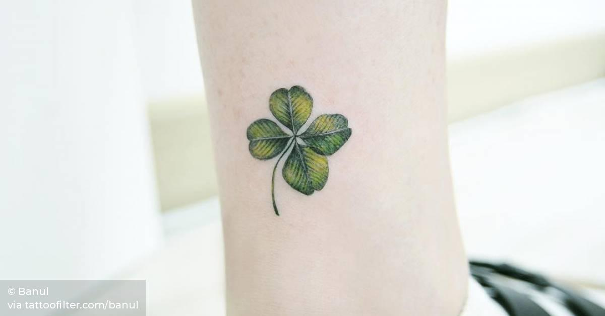 Small Clover Tattoo On The Ankle