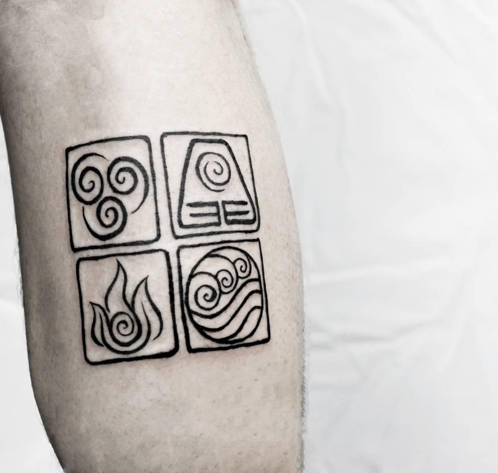 Avatar The Last Airbender Elements Stamp Tattoo