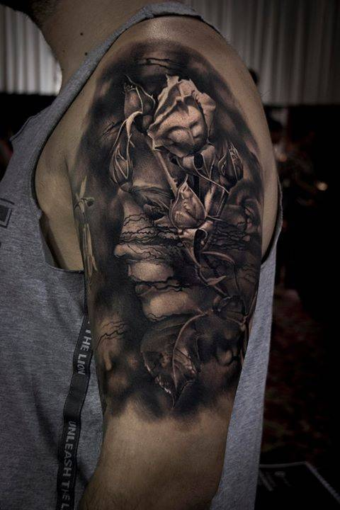 Done at International Tattoo Convention Bucharest on Teppisto Horia among my colleagues from No Regrets Tattoo Cristina Akiko Andrei Tudor Stefan Marcu Tattoo. Really had a blast spending some time with some old friends and making some new ones.