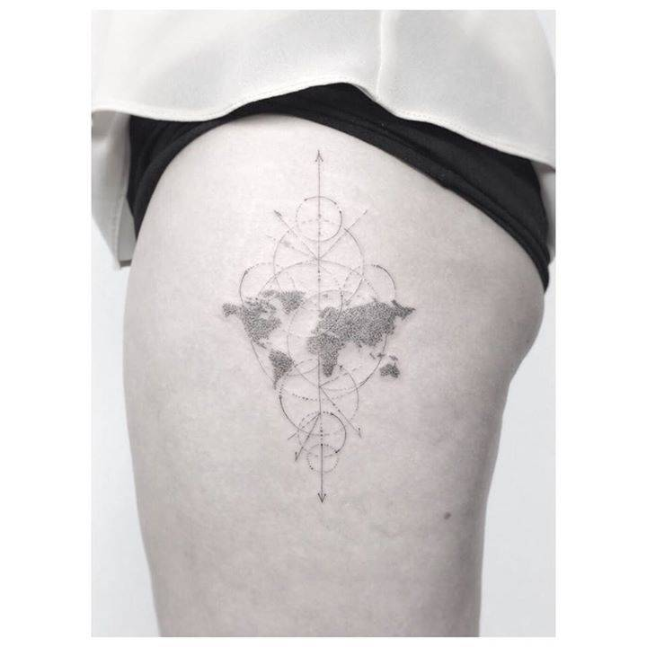 Single needle world map tattoo on the left thigh gumiabroncs Choice Image