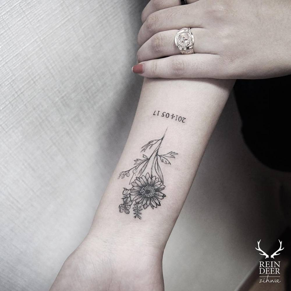 daisy tattoo on the inner forearm. Black Bedroom Furniture Sets. Home Design Ideas