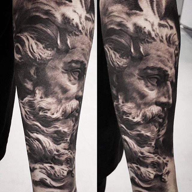 Black And Grey Style Poseidon Tattoo On The Left Inner