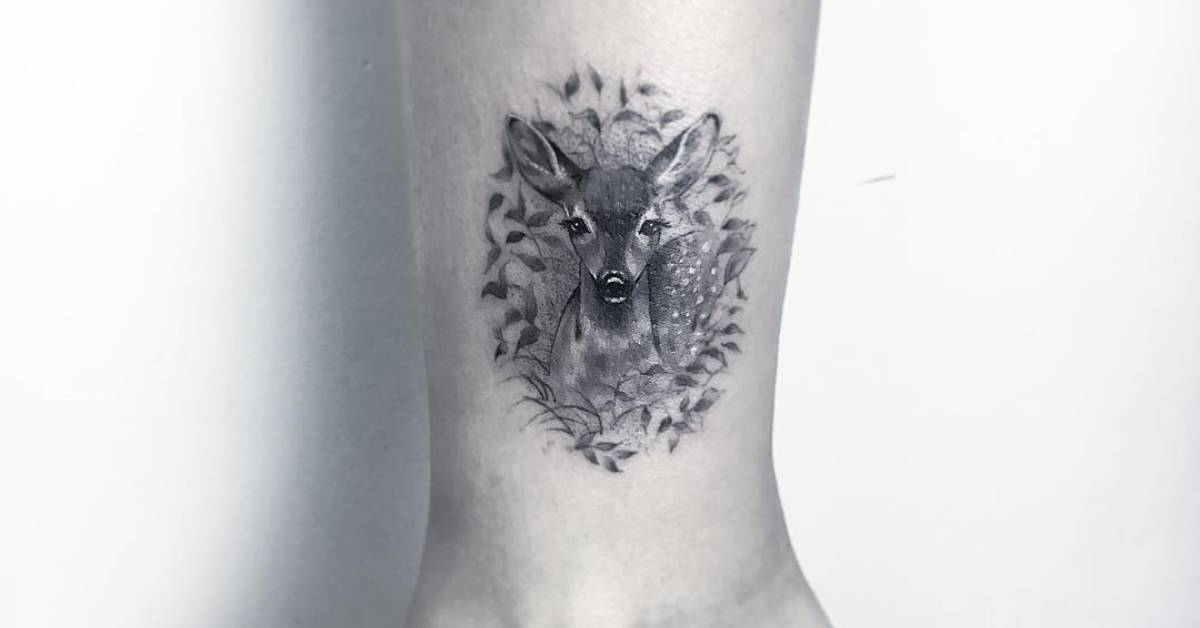 fawn tattoo above the ankle. Black Bedroom Furniture Sets. Home Design Ideas