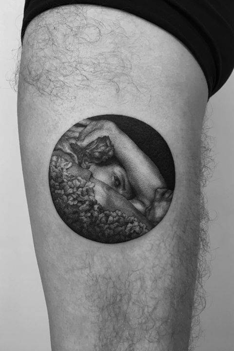 Tattoos inspired by an artwork of Lawrence Alma-Tadema.