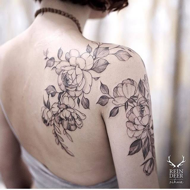 peony tattoos on the right shoulder and upper arm. Black Bedroom Furniture Sets. Home Design Ideas