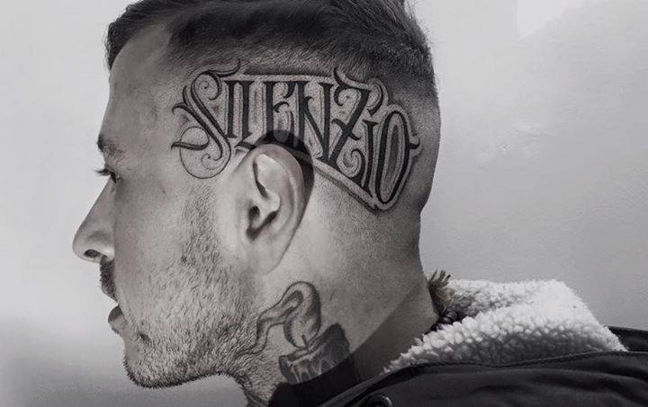 Silenzio tattoo on the left side of the head for Tattoos on side of head