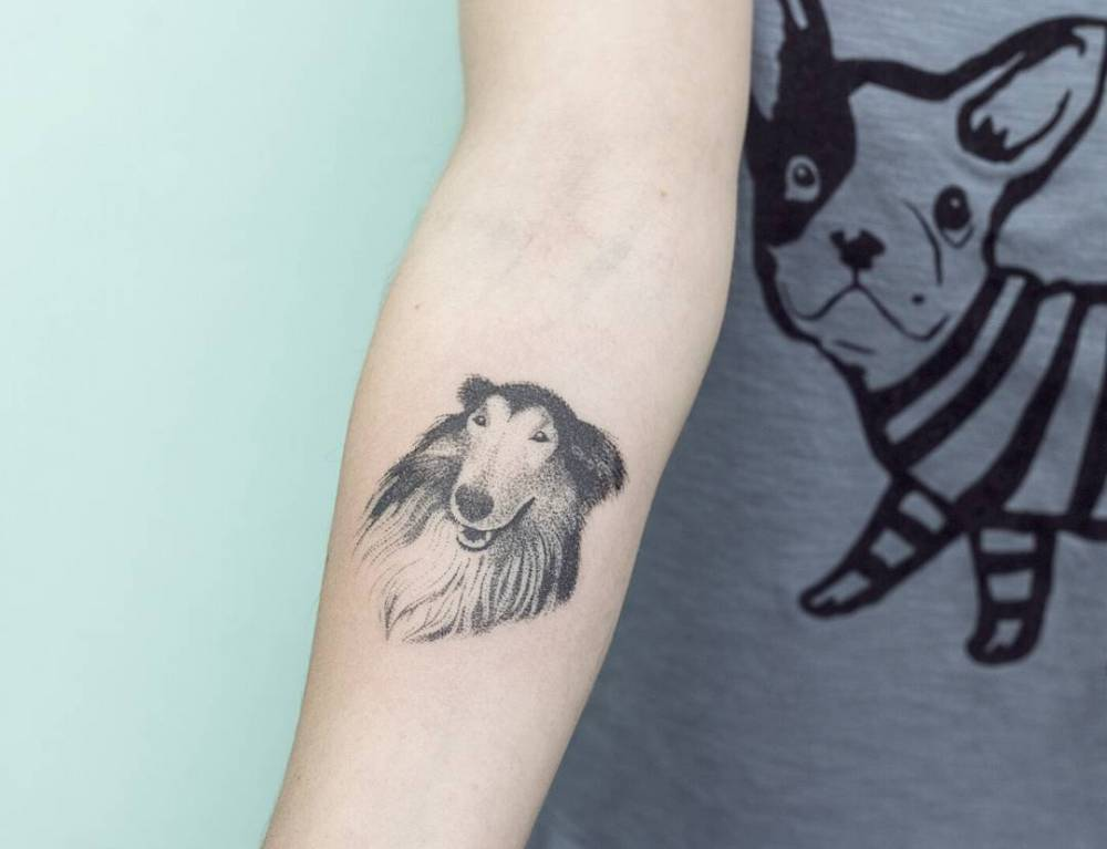 hand poked collie tattoo on the right inner forearm. Black Bedroom Furniture Sets. Home Design Ideas