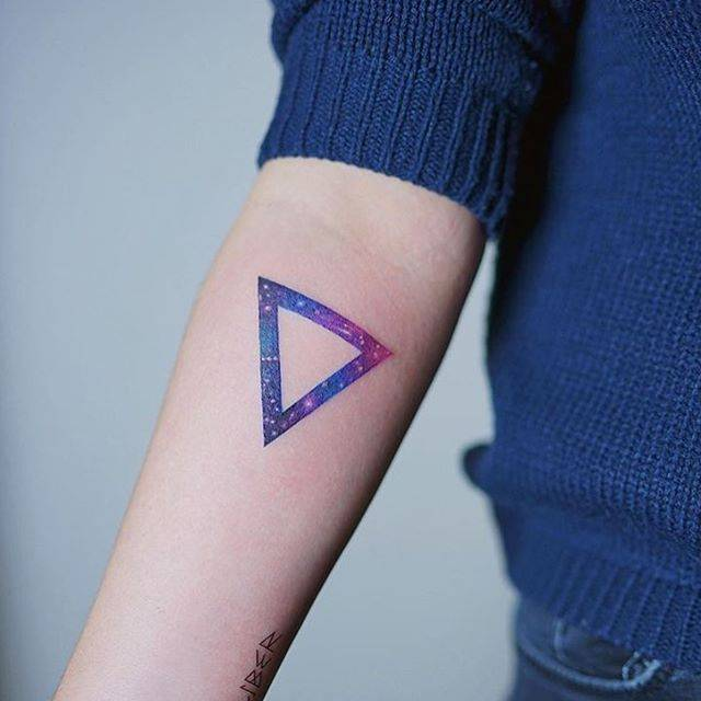 Galactic Triangle Tattoo On The Right Inner Forearm
