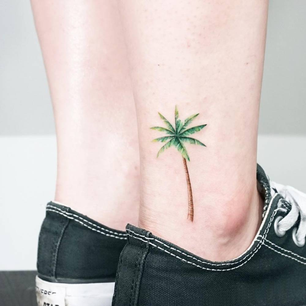 Palm tree tattoo on the ankle for Palm tree ankle tattoo