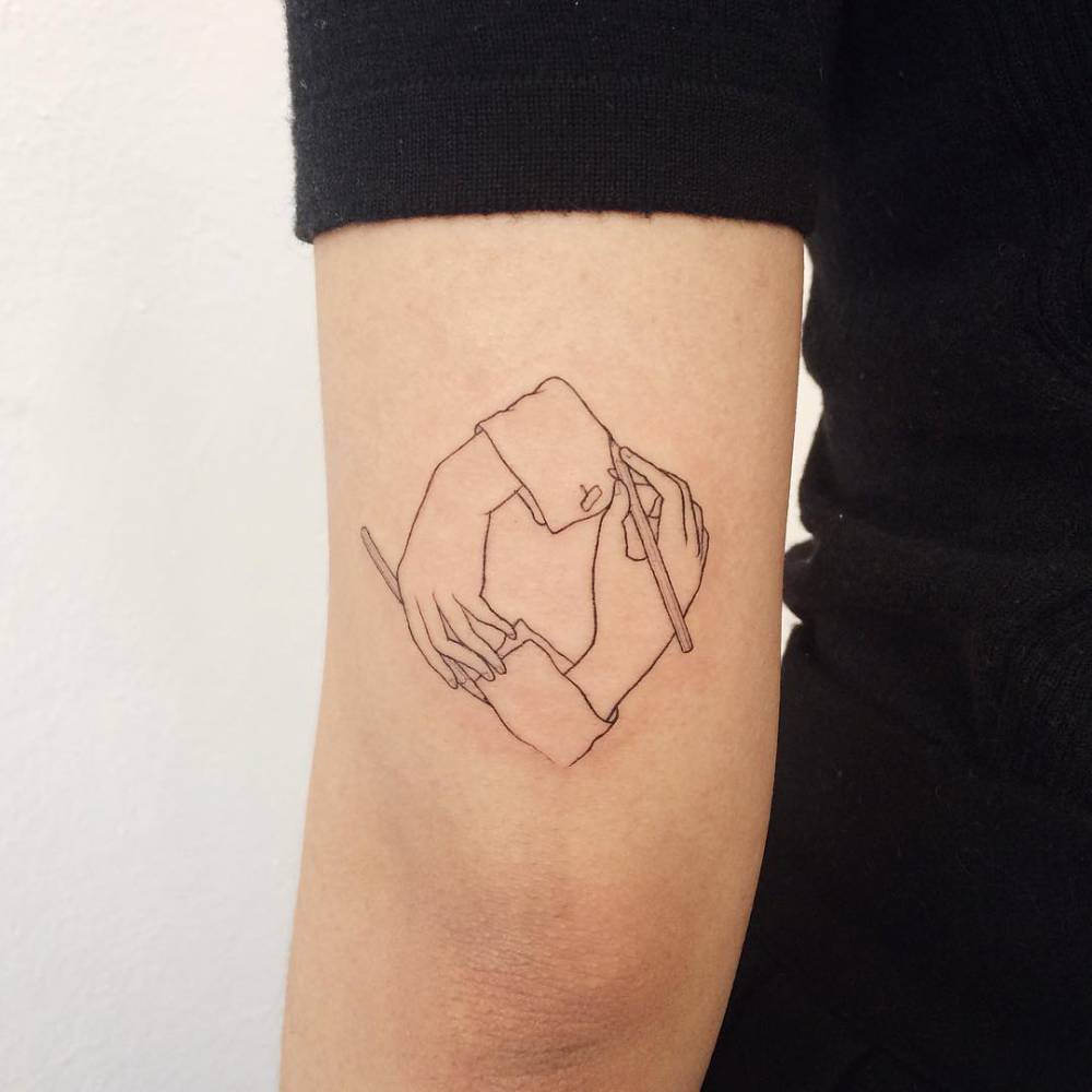 M C Escher Inspired Tattoo On The Back Of The Left