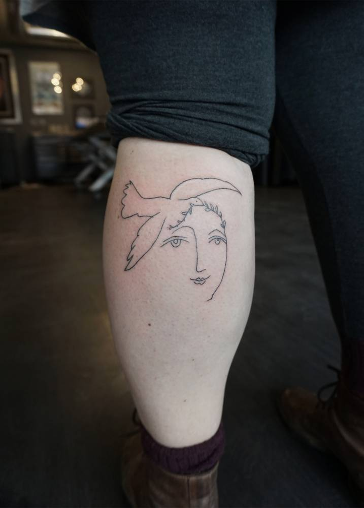 Line Drawing Picasso Tattoo : Handpoked pablo picasso drawing