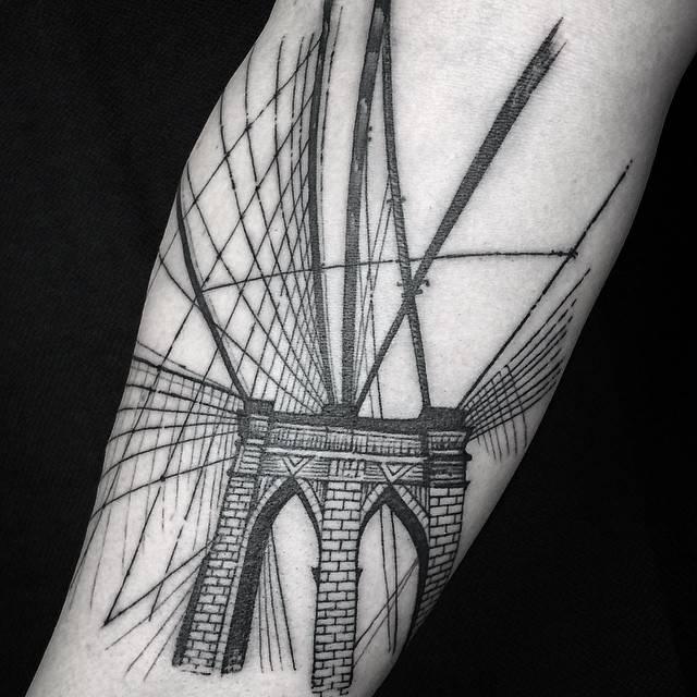 Blackwork illustrative style brooklyn bridge tattoo on for Brooklyn tattoo ideas