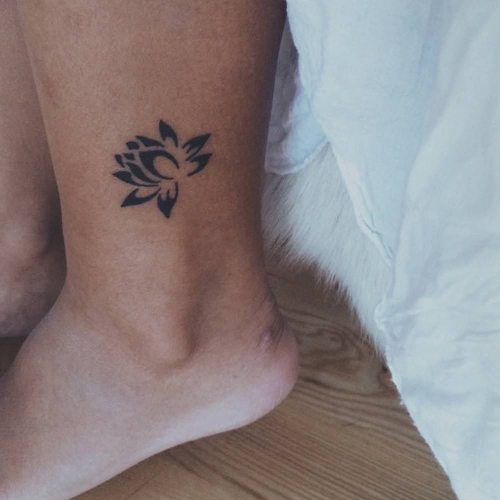 Lotus Flower Tattoo On The Ankle