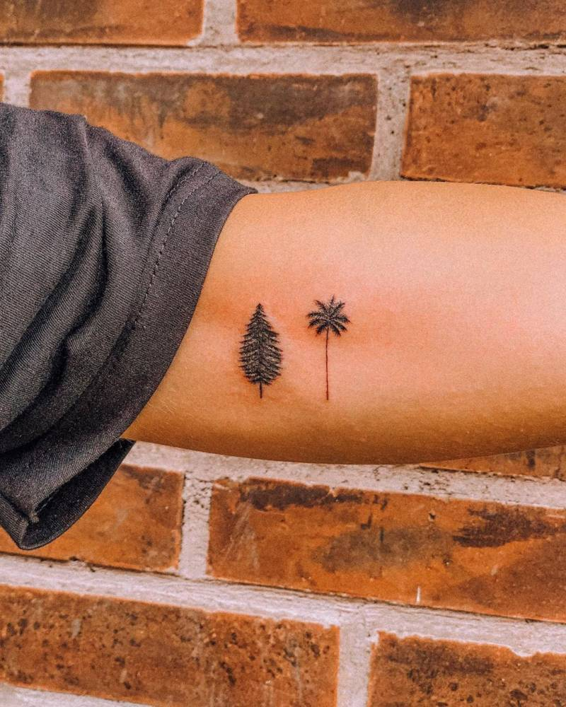 Pine tree and palm tree tattoo on the inner arm.