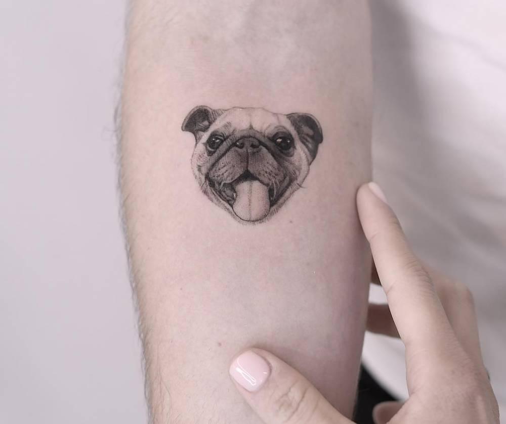 Pug portrait tattoo.