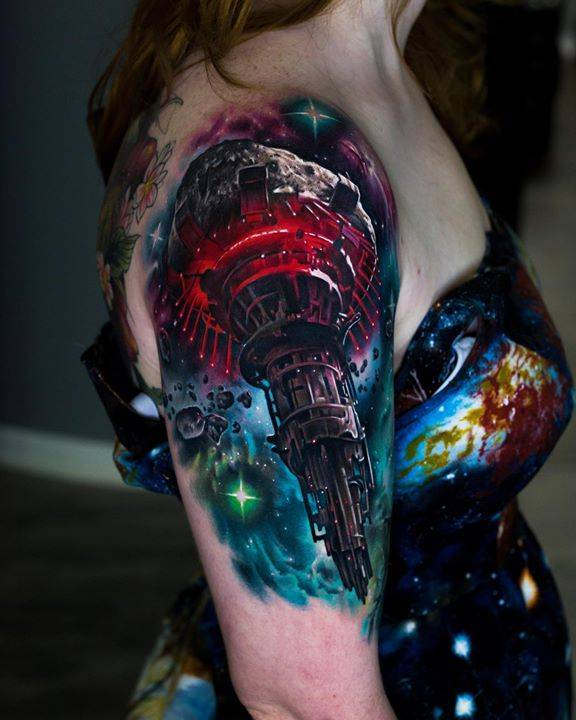 Omega Station from the game Mass Effect. Can't wait to keep working on this!  Mostly healed, also love her space dress, thanks Natascha for being awesome!