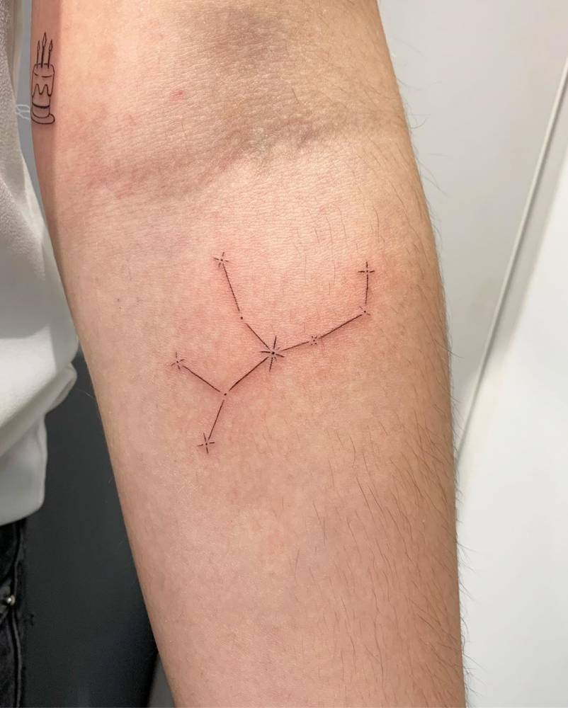 Virgo constellation tattoo on Vanessa Maria.