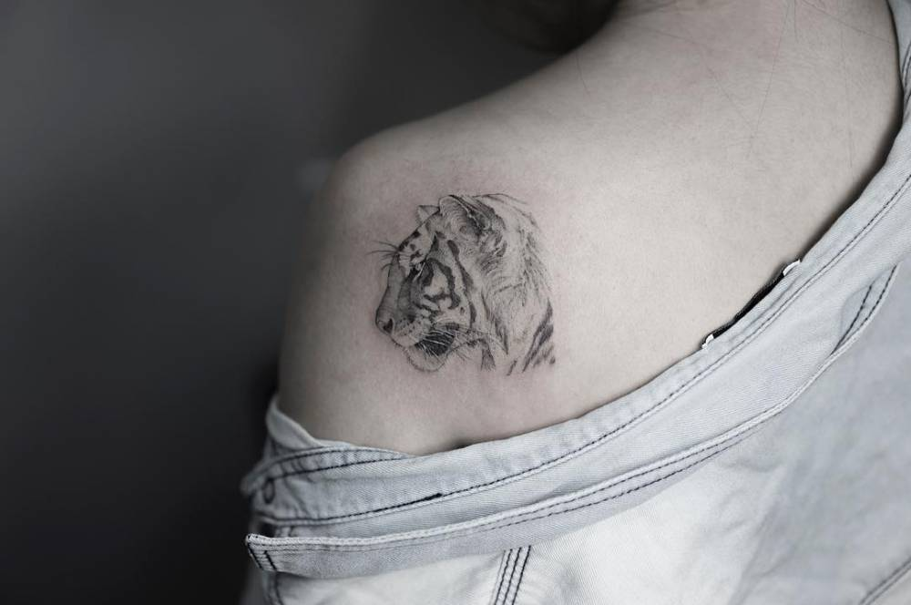 Fine line tiger head tattoo on the left shoulder blade.