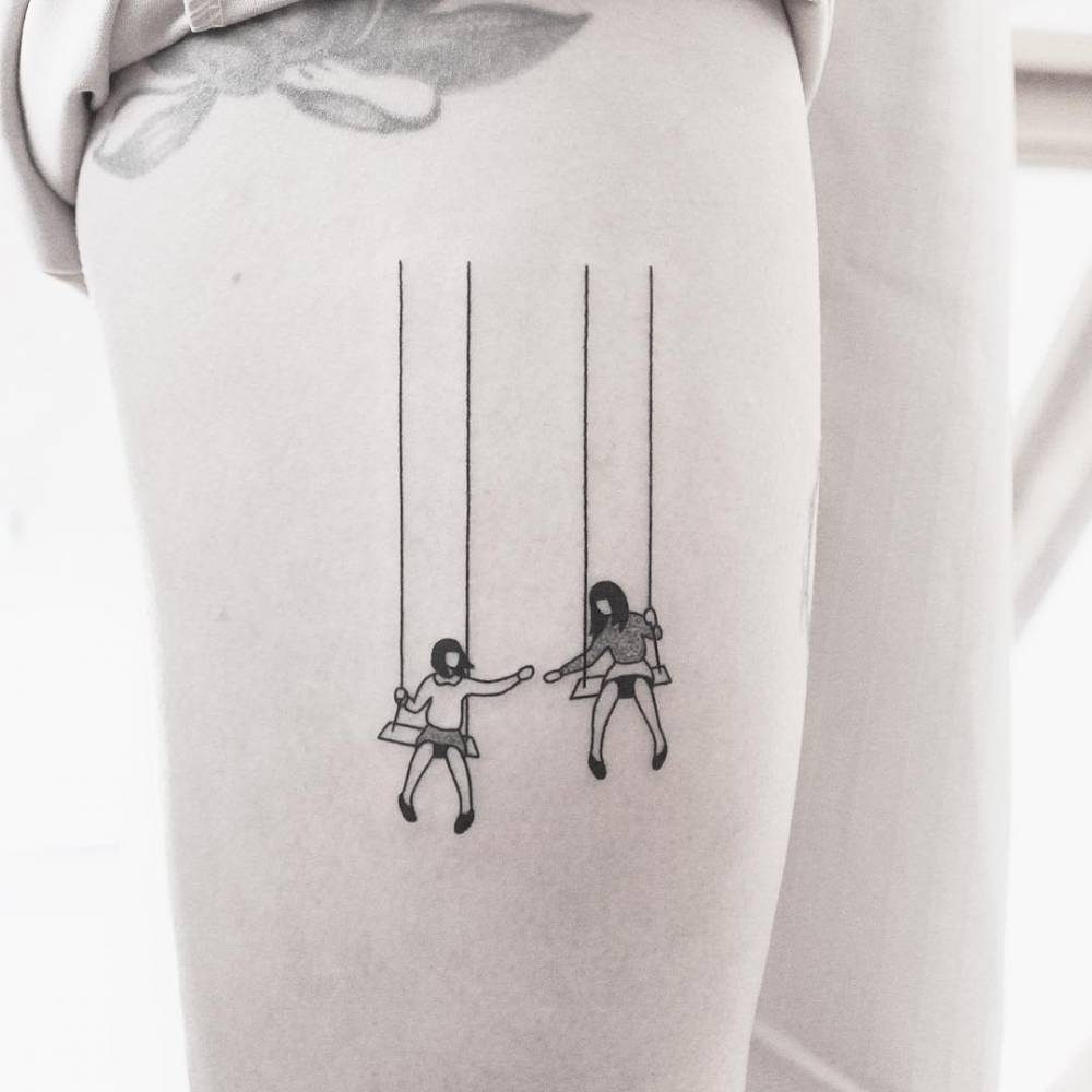 Swing Tattoo: Swing Tattoo On The Right Thigh (based On Client