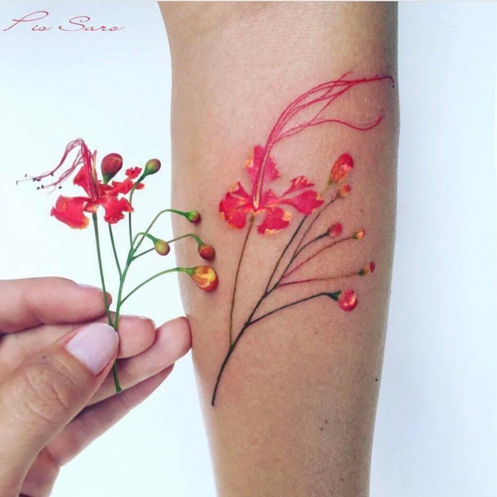 watercolor tattoo flower - 736×842