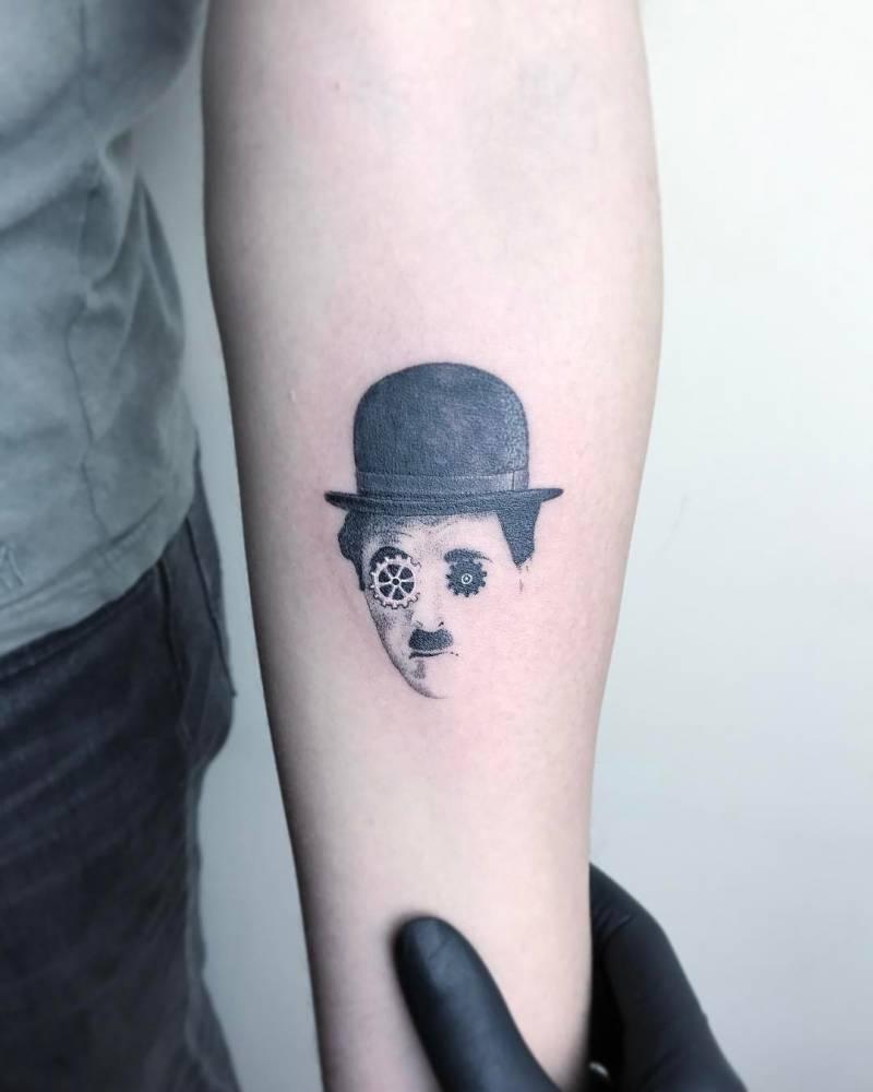 charlie chaplin portrait tattoo. Black Bedroom Furniture Sets. Home Design Ideas