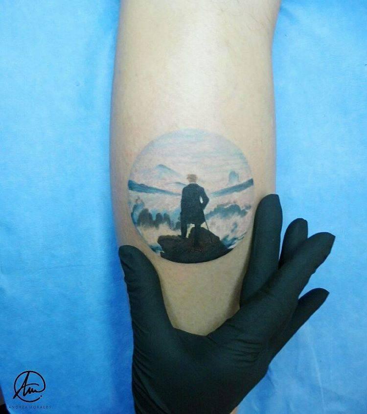 Tatuaje inspirado en el caminante sobre el mar de nubes - Busco trabajo de pintor en madrid ...