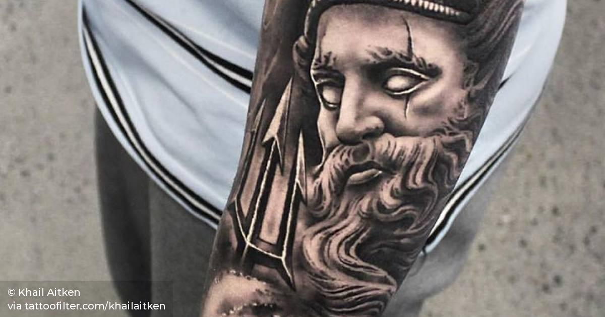 Black And Grey Poseidon Tattoo On The Left Forearm
