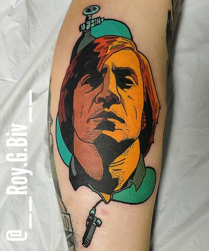 Anton Chigurh tattoo.