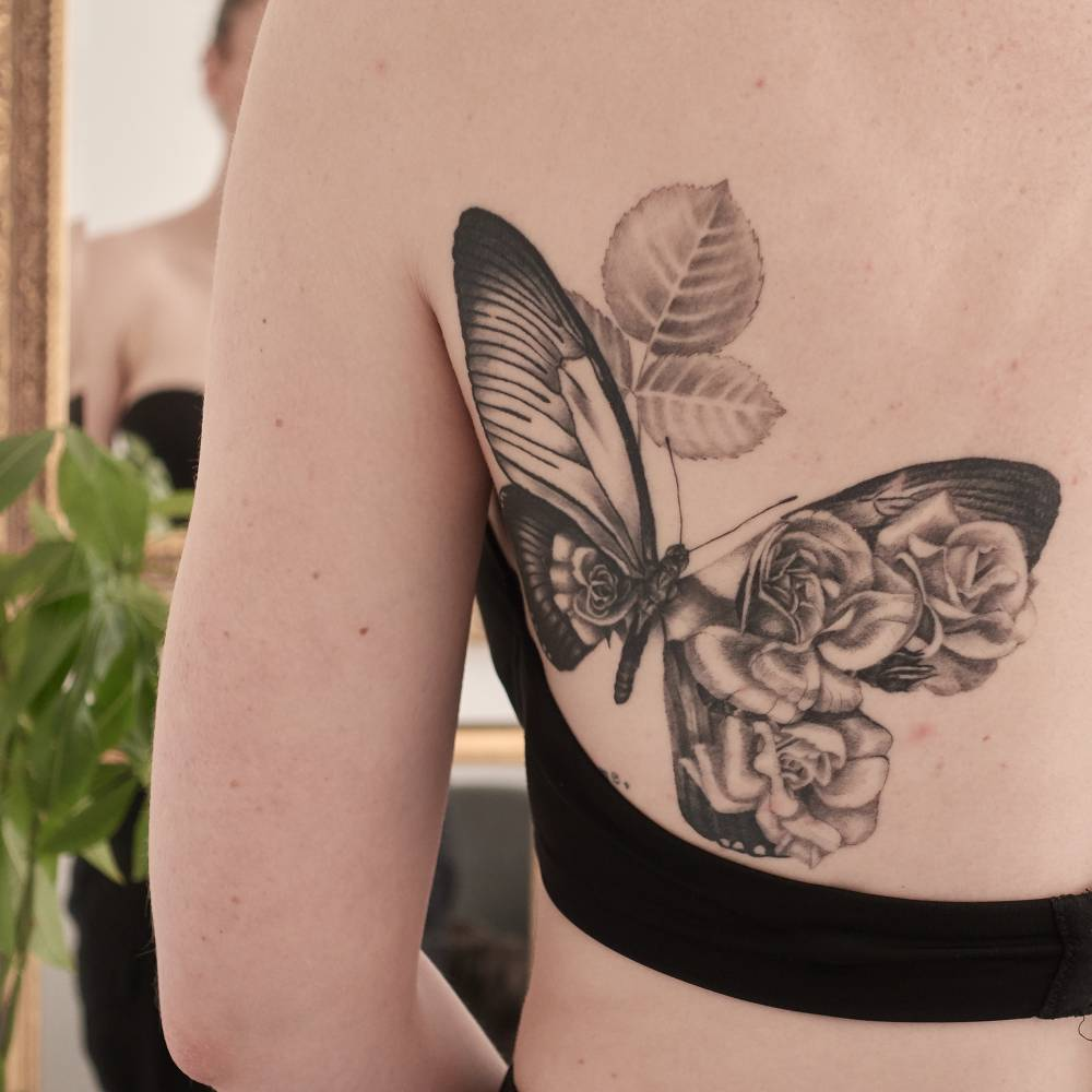 Butterfly garden for one of the toughest women I know. She felt nothing after 16 hour session!