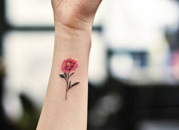 Pink peony flower tattoo on the wrist for Red carnation tattoo