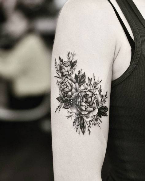 Peony Flower Tattoos On The Right Upper Arm