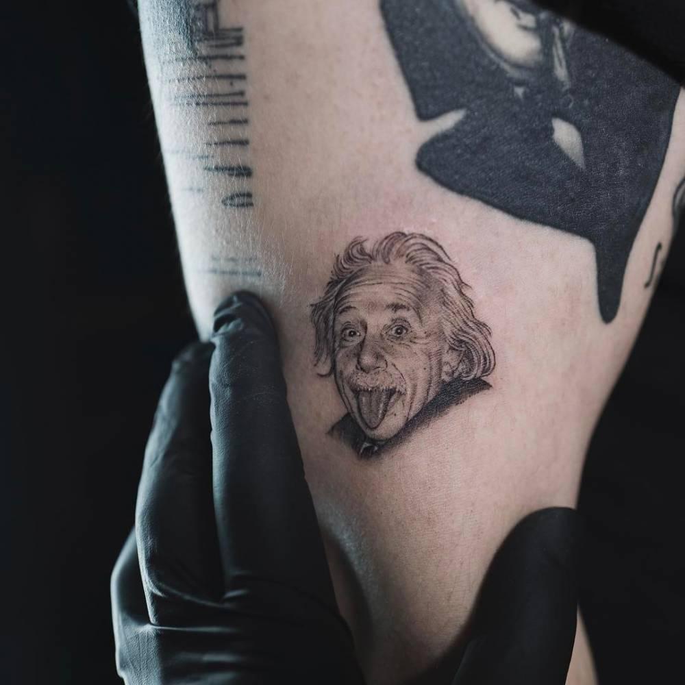 Albert Einstein Portrait Tattoo On The Upper Arm
