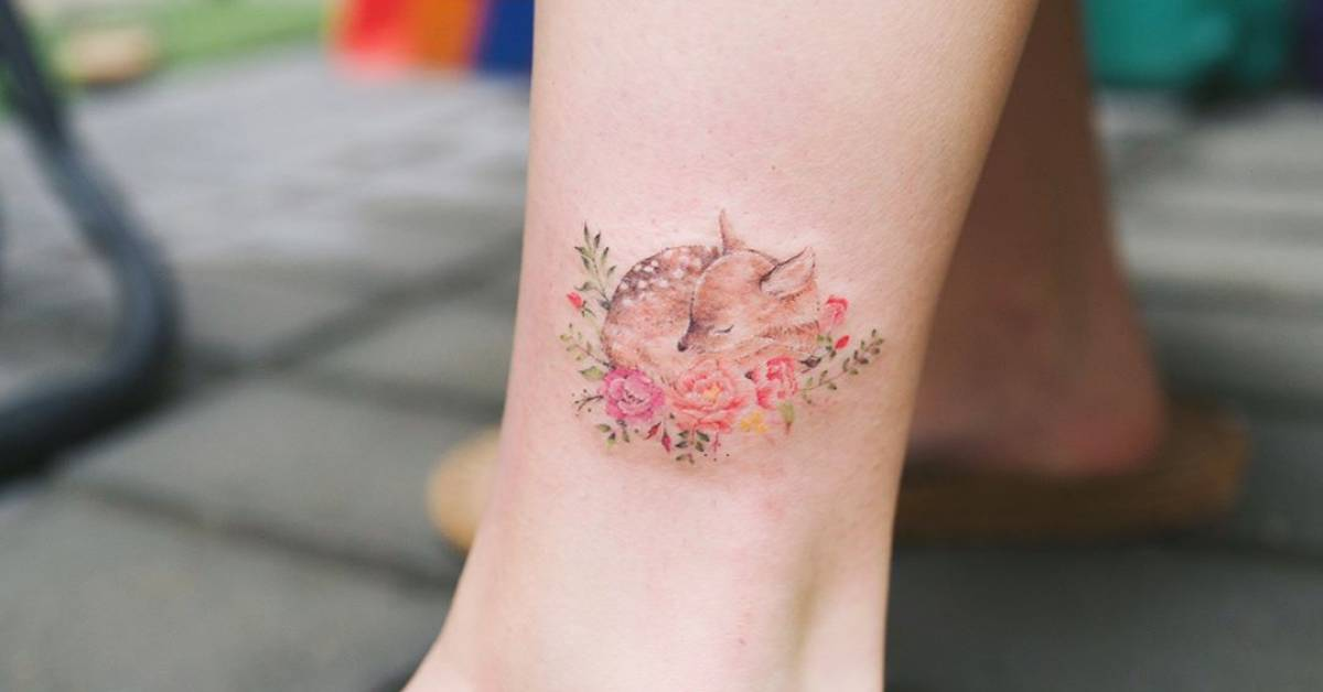 fawn tattoo on the ankle. Black Bedroom Furniture Sets. Home Design Ideas