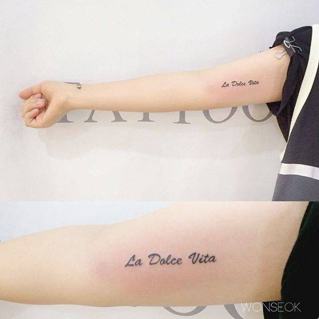 """La Dolce Vita"" Tattoo On The Right Inner Arm"