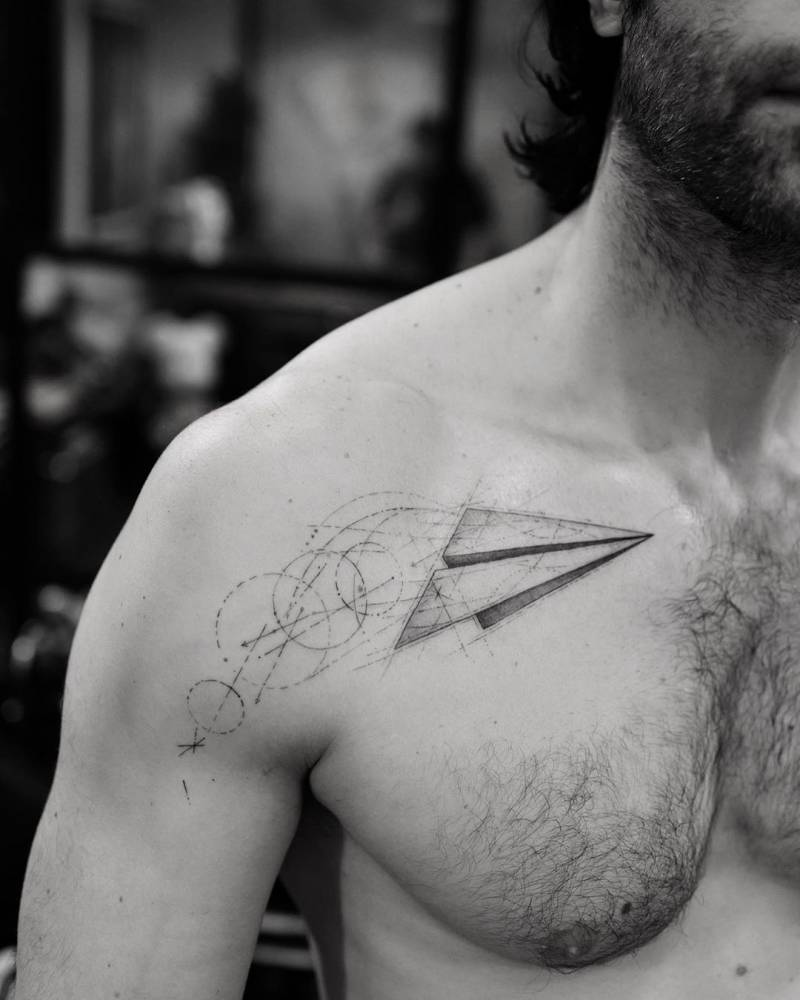 Single Needle Paper Plane Tattoo On Chris D Elia