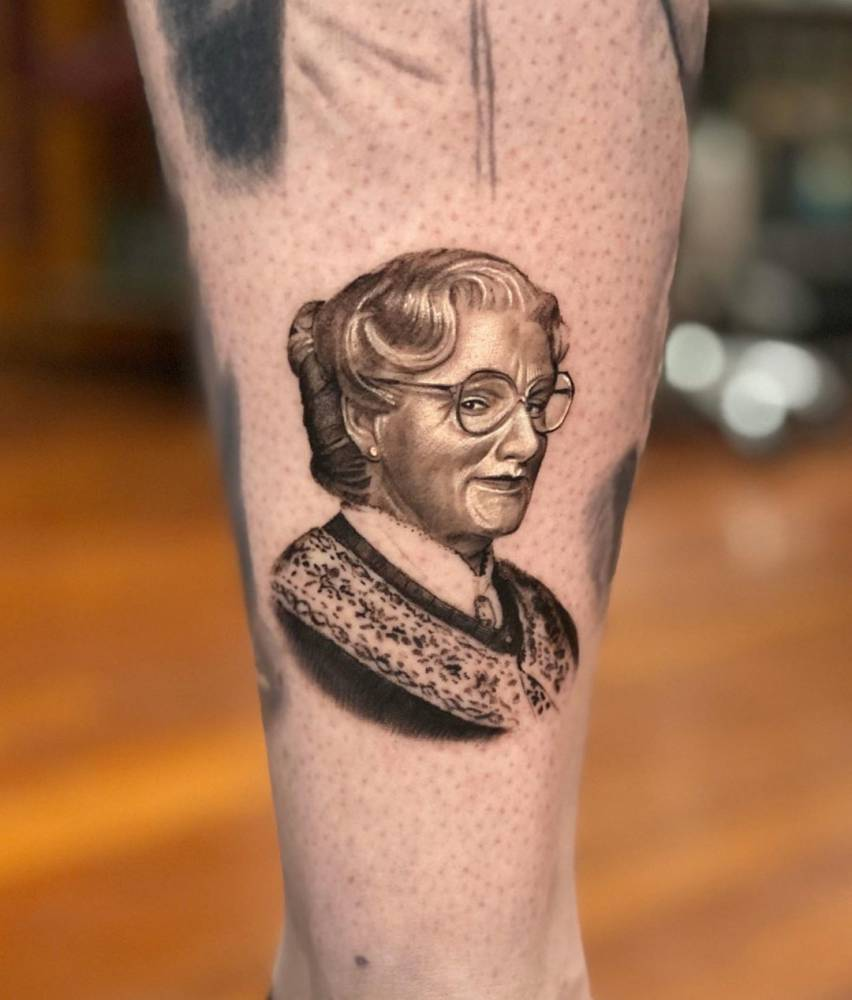 Mrs. Doubtfire, portrayed by the late, great Robin Williams.