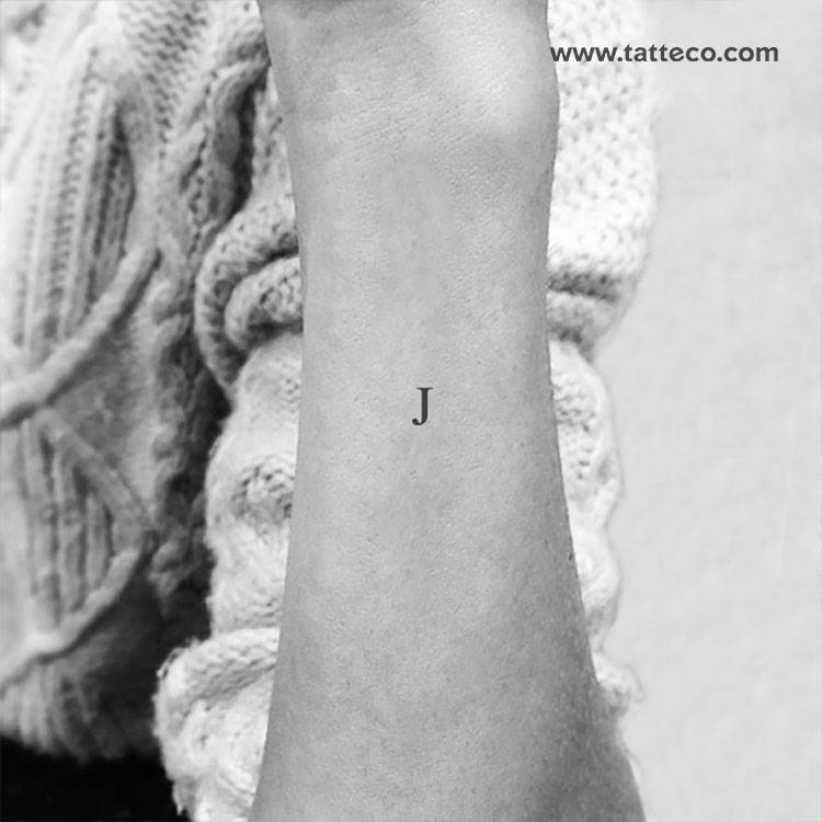 Serif capital J letter temporary tattoo, get it here ►