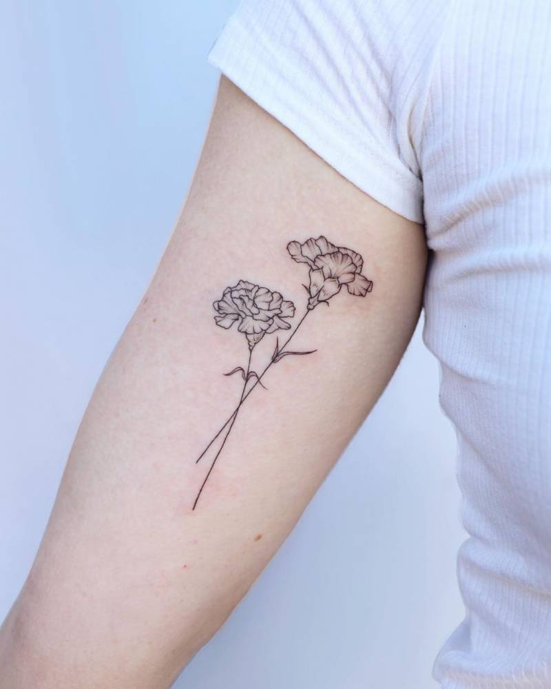 Carnations on the inner arm.