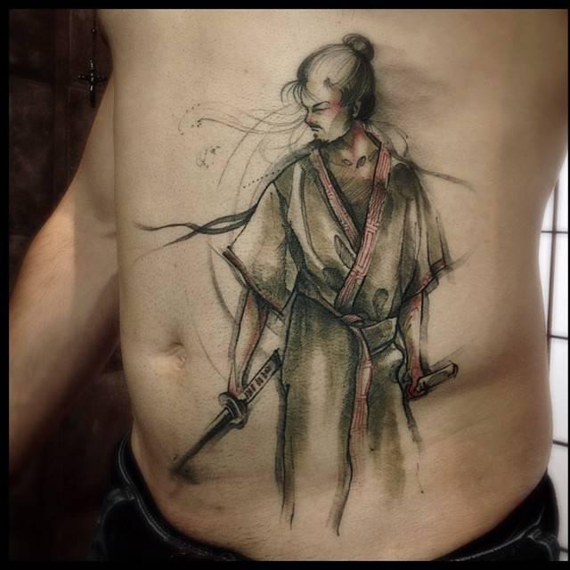 Sketch Work Style Samurai Tattoo On The Stomach
